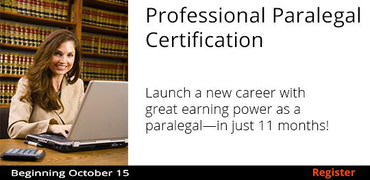 Professional Paralegal Certification 10/15-12/17