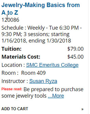 Course summary from listings on Courses page