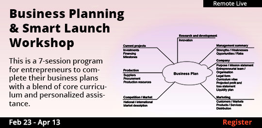 Business Planning & Smart Launch Workshop (Remote Live), 02/23/2021 - 04/13/2021