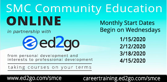 Community Ed Online Classes in partnership with ed2go