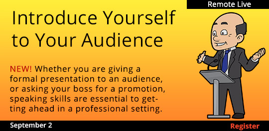 Introduce Yourself to Your Audience (Remote Live) ,09/02/2021 - 09/02/2021
