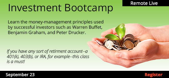 Investment Bootcamp (Remote Live) , 09/23/2020 - 09/23/2020