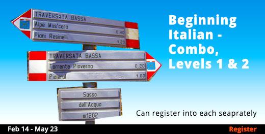 Beginning Italian - Combo, Levels 1 & 2, 2/14/2019 - 5/23/2019