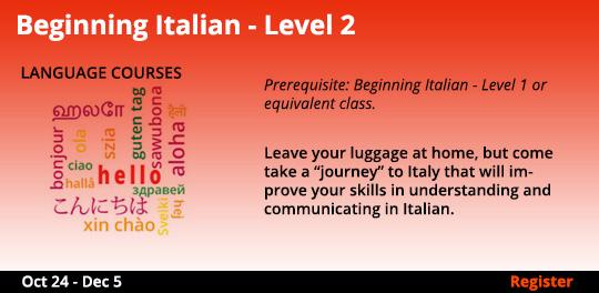 Beginning Italian - Level 2, 10/24/2019 - 12/5/2019