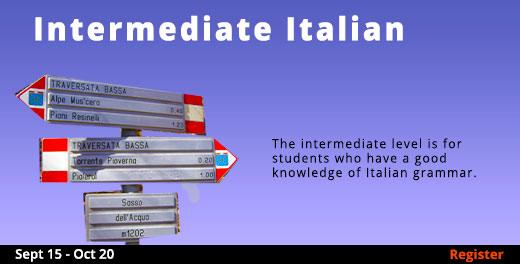Intermediate Italian (Remote Live)  09/15/2020  - 10/20/2020