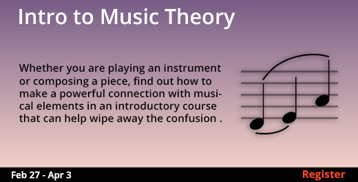Intro to Music Theory, 2/27/2019 - 4/3/2019