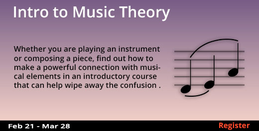 Intro to Music Theory, 2/21/2018 - 3/28/2018