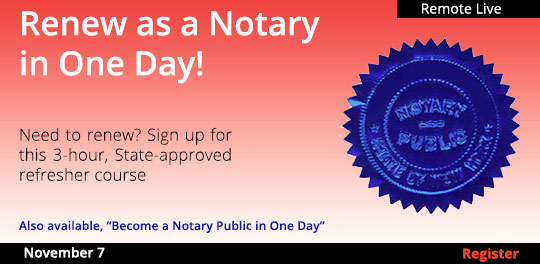Renew as a Notary in One Day! (Livestream), 11/07/2020 - 11/08/2020