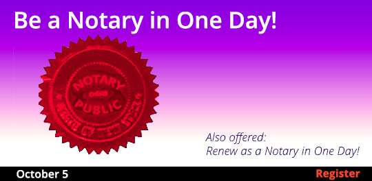 Become a Notary in One Day, 10/5/2019