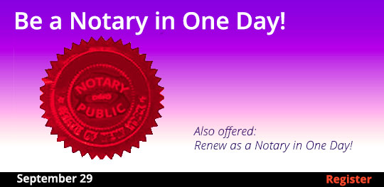Become a Notary in One Day, 9/29/2018