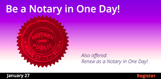 Become a Notary in One Day, 1/27/2018. Also offered: Renew as a Notary in One Day!