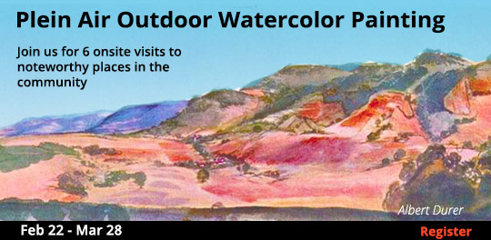 Plein Air Outdoor Watercolor Painting, 2/22/2020 - 3/28/2020