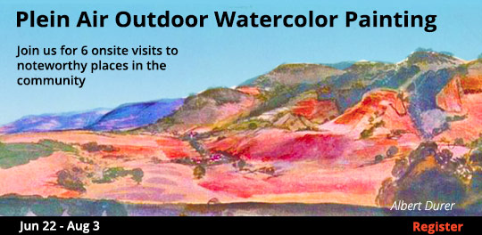 Plein Air Outdoor Watercolor Painting, 6/22/2019 - 8/3/2019