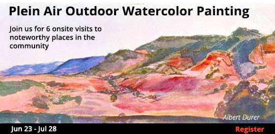 Plein Air Outdoor Watercolor Painting, 6/23/2018 - 7/28/2018