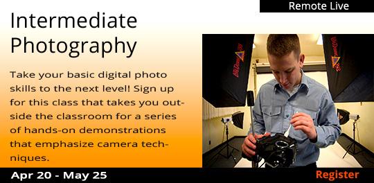Intermediate Photography (Remote Live), 4/20/2021 - 5/25/2021