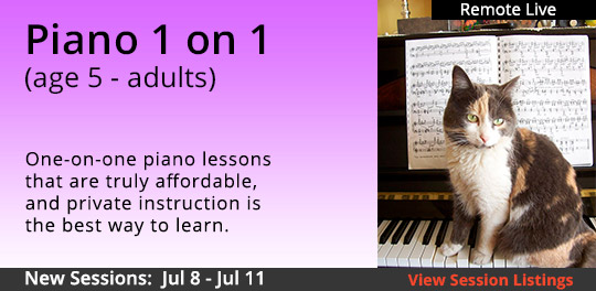 One-On-One Piano (5 years - Adult) Saturday (3H)(Remote Live), VARIOUS START DATES 6-22 TO 7-11