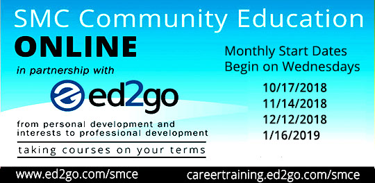 Community Ed Online Classes in partnership with ed2go - next start date OCTOBER 17