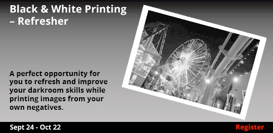 Black & White Printing Refresher,  9/24/2017 - 10/22/2017