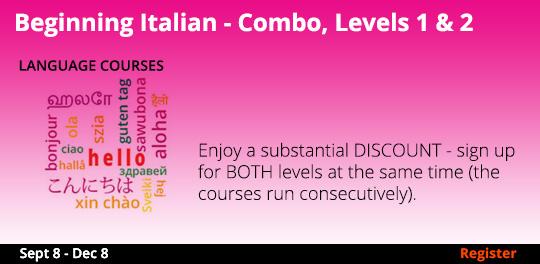 Beginning Italian - Combo, Levels 1 & 2   9/8-12/8