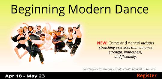 Beginning Modern Dance  4/18 - 5/23