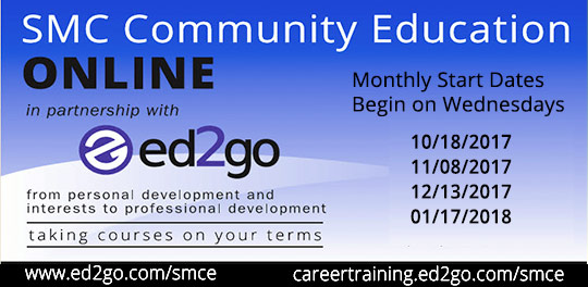 Ed2Go online classes. Start dates:  10/18, 11/08, 12/13, 1/17