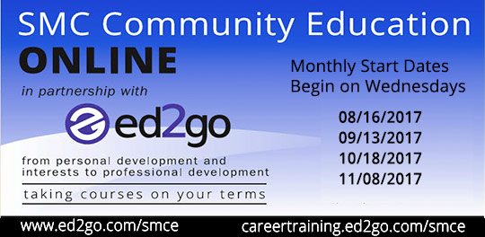 Online classes with ed2go and Community Ed. Find out more. Start dates: August 16, September 13, October 18 and November 8
