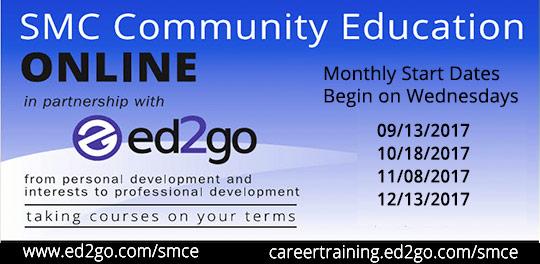 Ed2Go online classes. Start dates: 9/13, 10/18, 11/08, 12/13