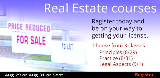 Real Estate Series beg. 8/29, 8/31, 9/1
