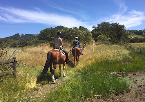 Students on a trail ride in the nearby Rocky Oaks State Park
