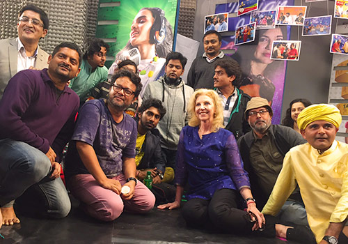 Heather Lyle with students at an 'Indian Idol' Academy in Kolkata, India