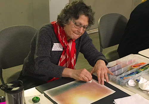 Arlene Weinstock demonstrated colored pencil techniques