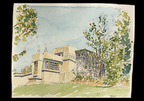 Tony's painting of Frank Lloyd Wright's Hollyhock  House in Los Angeles