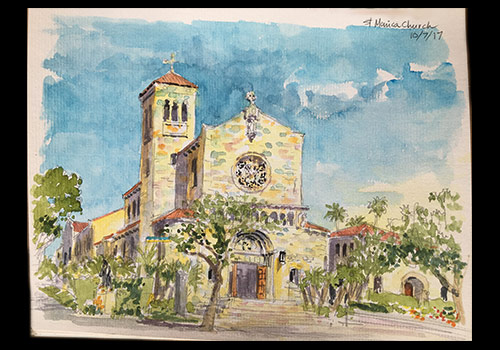 A watercolor painting of St. Monica's Church in Santa Monica, by Tony Tran