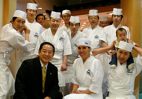 Nikki Gilbert and  fellow sushi chefs