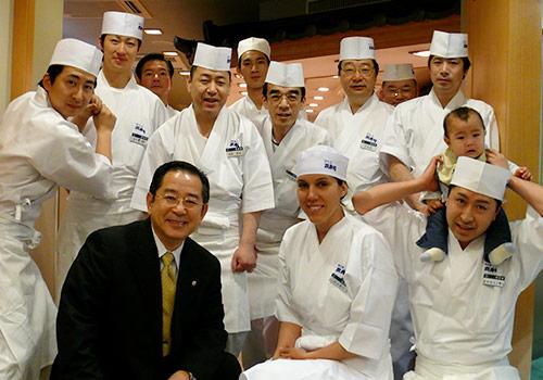 Nikki Gilbert and  fellow sushi chefs