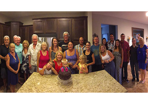 Debbi Harper (center) with family and friends on her 60th birthday