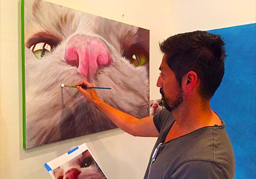 Scott painting a cat